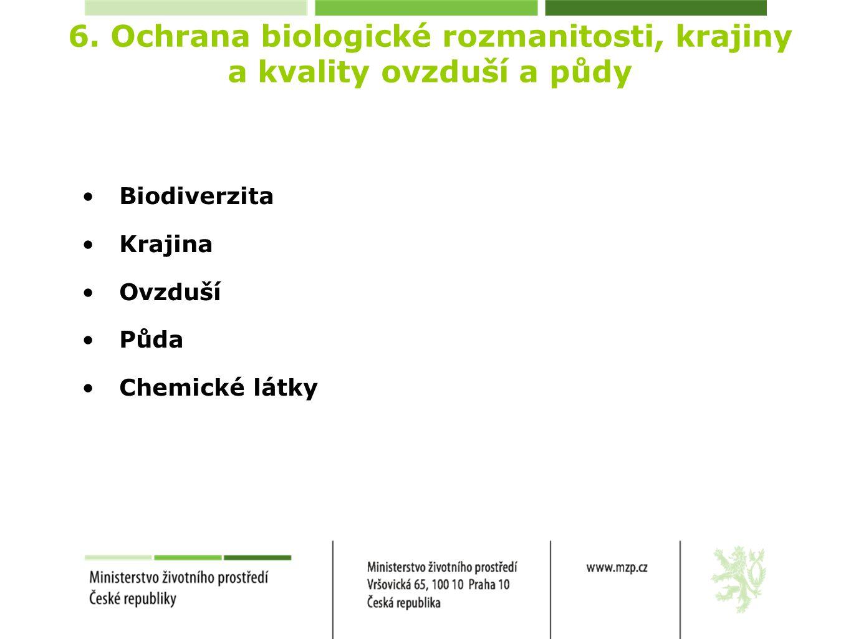 6. Ochrana biologické rozmanitosti, krajiny a kvality ovzduší a půdy Biodiverzita Krajina Ovzduší Půda Chemické látky