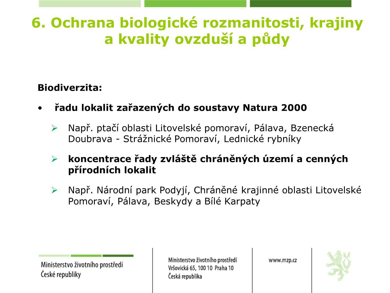 6. Ochrana biologické rozmanitosti, krajiny a kvality ovzduší a půdy Biodiverzita: řadu lokalit zařazených do soustavy Natura 2000  Např. ptačí oblas