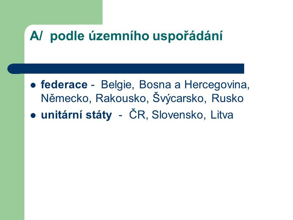A/ podle územního uspořádání federace - Belgie, Bosna a Hercegovina, Německo, Rakousko, Švýcarsko, Rusko unitární státy - ČR, Slovensko, Litva
