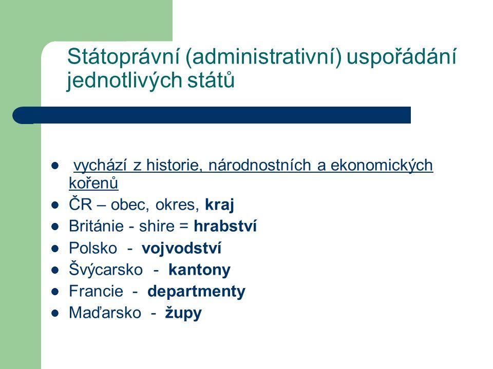 Státoprávní (administrativní) uspořádání jednotlivých států vychází z historie, národnostních a ekonomických kořenů ČR – obec, okres, kraj Británie -
