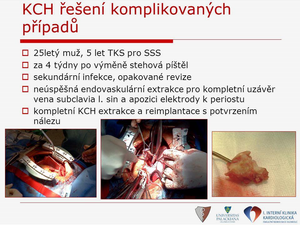 KCH řešení komplikovaných případů  25letý muž, 5 let TKS pro SSS  za 4 týdny po výměně stehová píštěl  sekundární infekce, opakované revize  neúsp