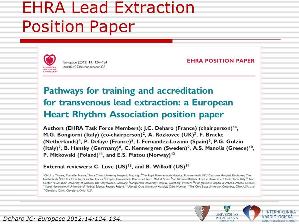 EHRA Lead Extraction Position Paper Deharo JC: Europace 2012;14:124-134.