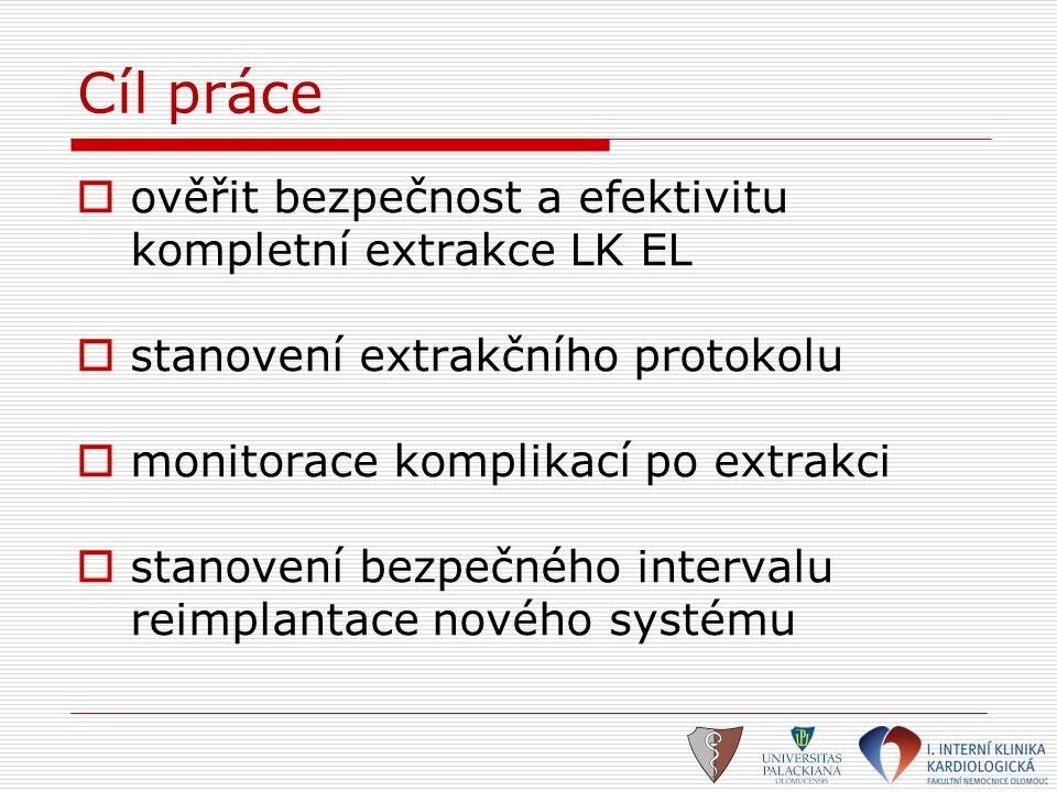 Cíl práce  ověřit bezpečnost a efektivitu kompletní extrakce LK EL  stanovení extrakčního protokolu  monitorace komplikací po extrakci  stanovení