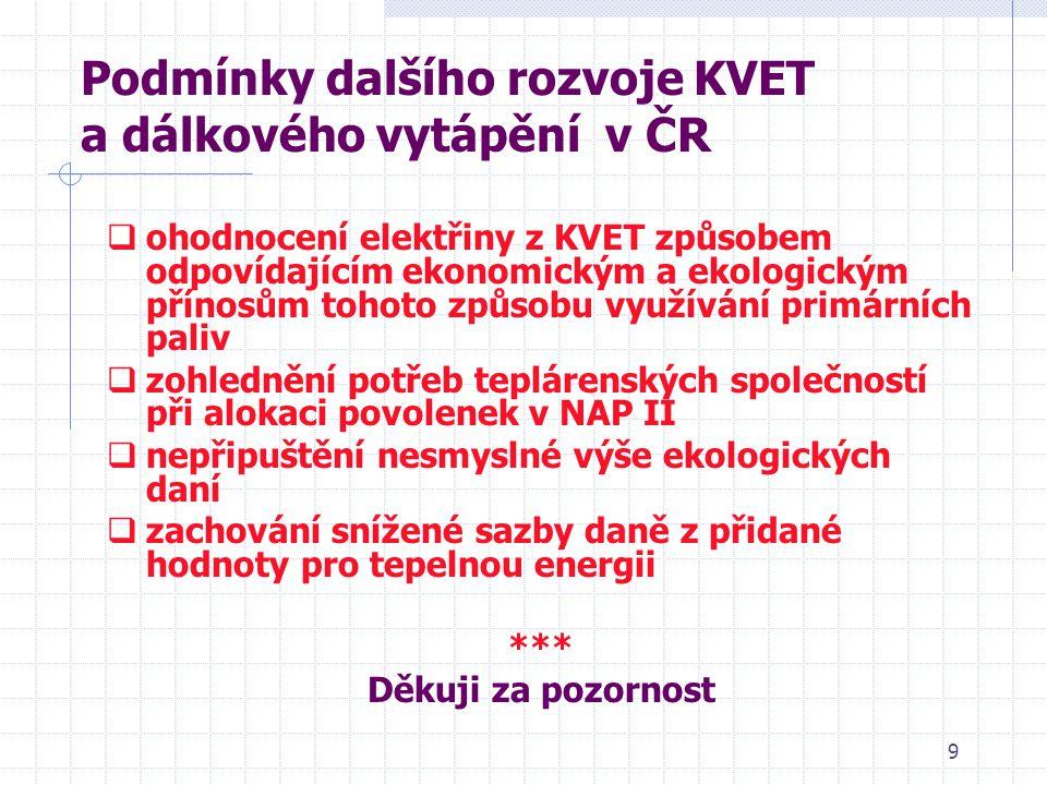 9 Podmínky dalšího rozvoje KVET a dálkového vytápění v ČR  ohodnocení elektřiny z KVET způsobem odpovídajícím ekonomickým a ekologickým přínosům tohoto způsobu využívání primárních paliv  zohlednění potřeb teplárenských společností při alokaci povolenek v NAP II  nepřipuštění nesmyslné výše ekologických daní  zachování snížené sazby daně z přidané hodnoty pro tepelnou energii *** Děkuji za pozornost