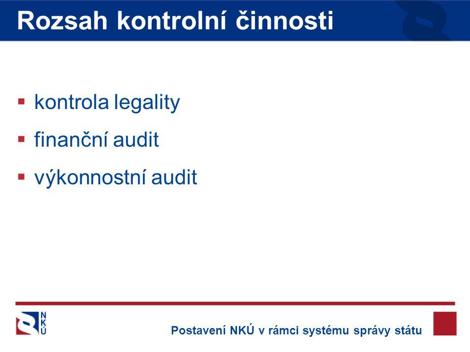  kontrola legality  finanční audit  výkonnostní audit Rozsah kontrolní činnosti Postavení NKÚ v rámci systému správy státu