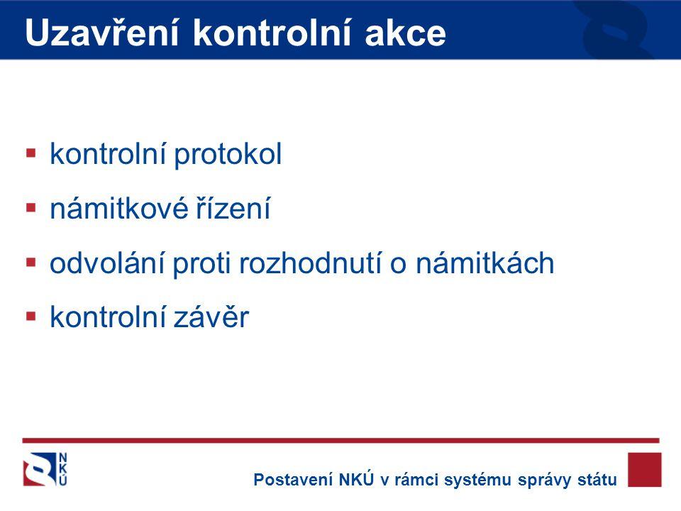  kontrolní protokol  námitkové řízení  odvolání proti rozhodnutí o námitkách  kontrolní závěr Uzavření kontrolní akce Postavení NKÚ v rámci systému správy státu