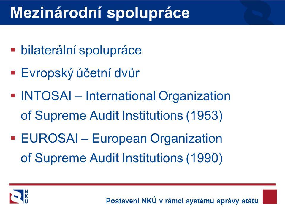  bilaterální spolupráce  Evropský účetní dvůr  INTOSAI – International Organization of Supreme Audit Institutions (1953)  EUROSAI – European Organization of Supreme Audit Institutions (1990) Mezinárodní spolupráce Postavení NKÚ v rámci systému správy státu