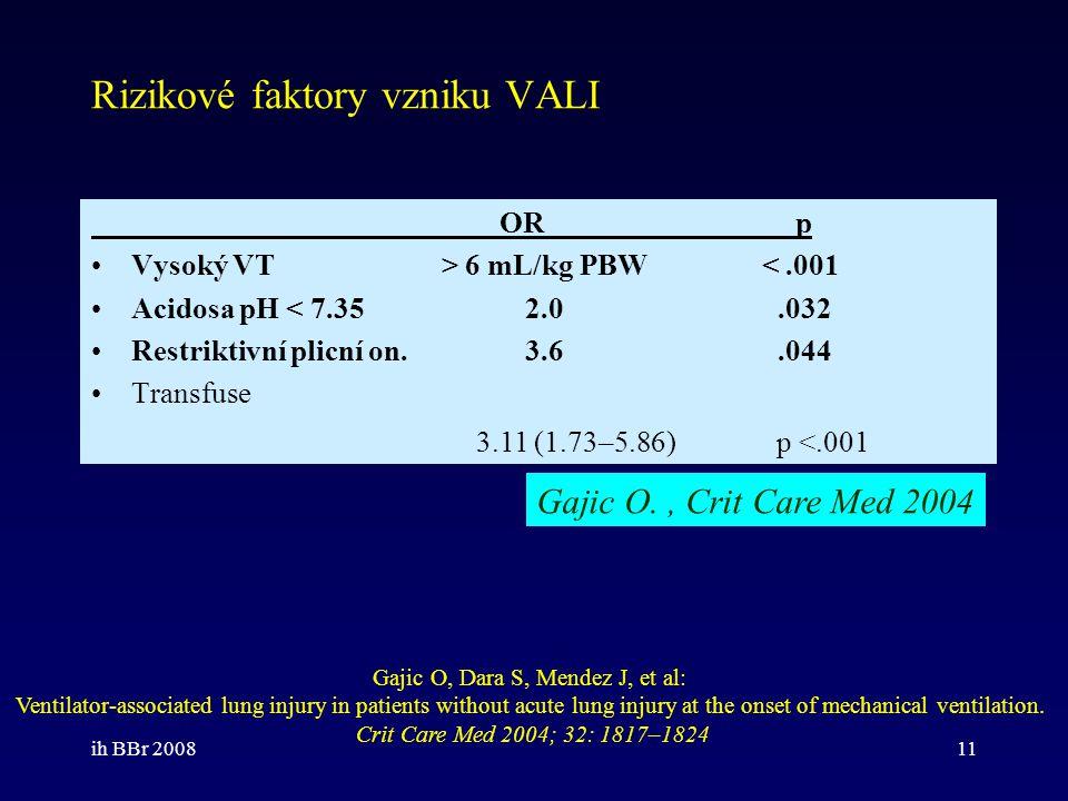 ih BBr 200811 Rizikové faktory vzniku VALI OR p Vysoký VT > 6 mL/kg PBW <.001 Acidosa pH < 7.35 2.0.032 Restriktivní plicní on. 3.6.044 Transfuse Gaji