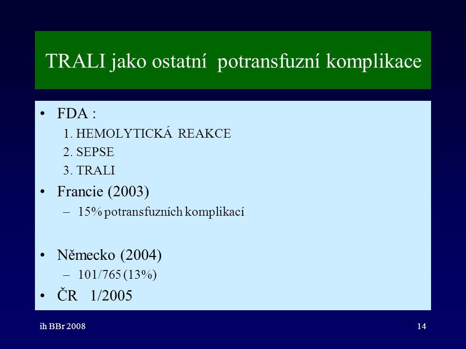 ih BBr 200814 TRALI jako ostatní potransfuzní komplikace FDA : 1. HEMOLYTICKÁ REAKCE 2. SEPSE 3. TRALI Francie (2003) –15% potransfuzních komplikací N