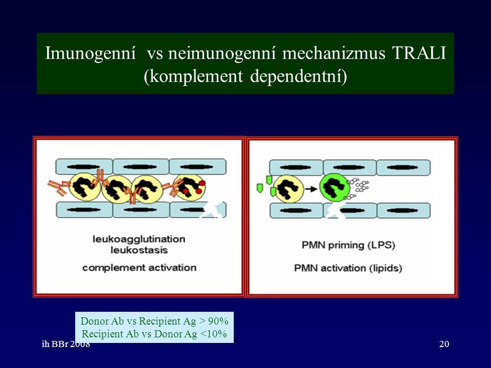 ih BBr 200820 Imunogenní vs neimunogenní mechanizmus TRALI (komplement dependentní) Donor Ab vs Recipient Ag > 90% Recipient Ab vs Donor Ag <10%