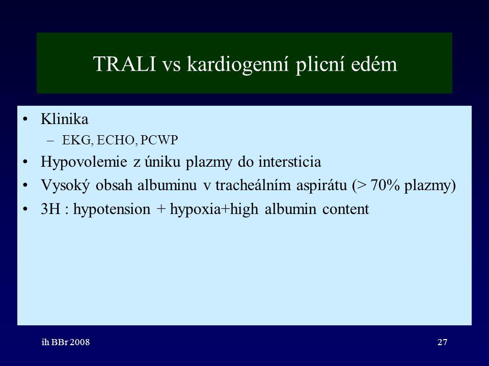 ih BBr 200827 TRALI vs kardiogenní plicní edém Klinika –EKG, ECHO, PCWP Hypovolemie z úniku plazmy do intersticia Vysoký obsah albuminu v tracheálním