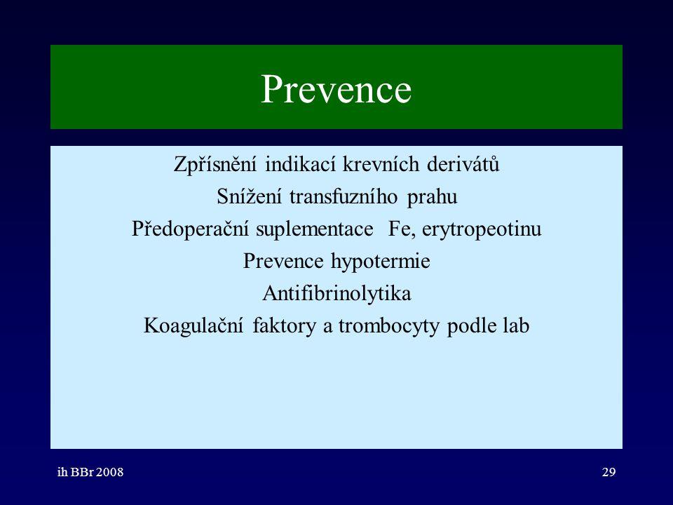 ih BBr 200829 Prevence Zpřísnění indikací krevních derivátů Snížení transfuzního prahu Předoperační suplementace Fe, erytropeotinu Prevence hypotermie