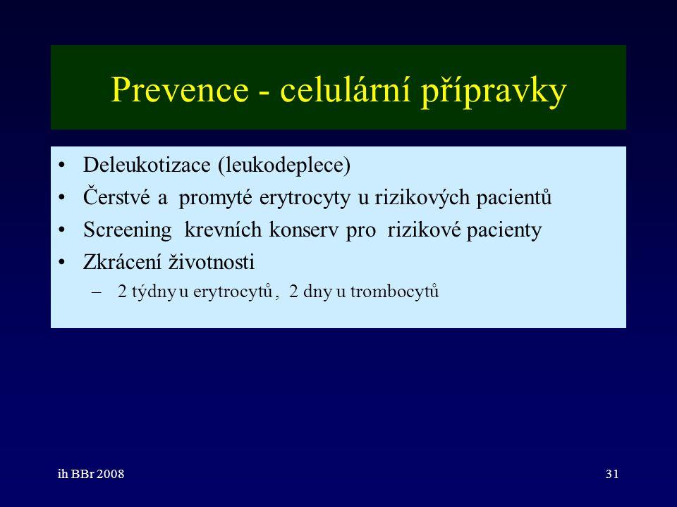 ih BBr 200831 Prevence - celulární přípravky Deleukotizace (leukodeplece) Čerstvé a promyté erytrocyty u rizikových pacientů Screening krevních konser