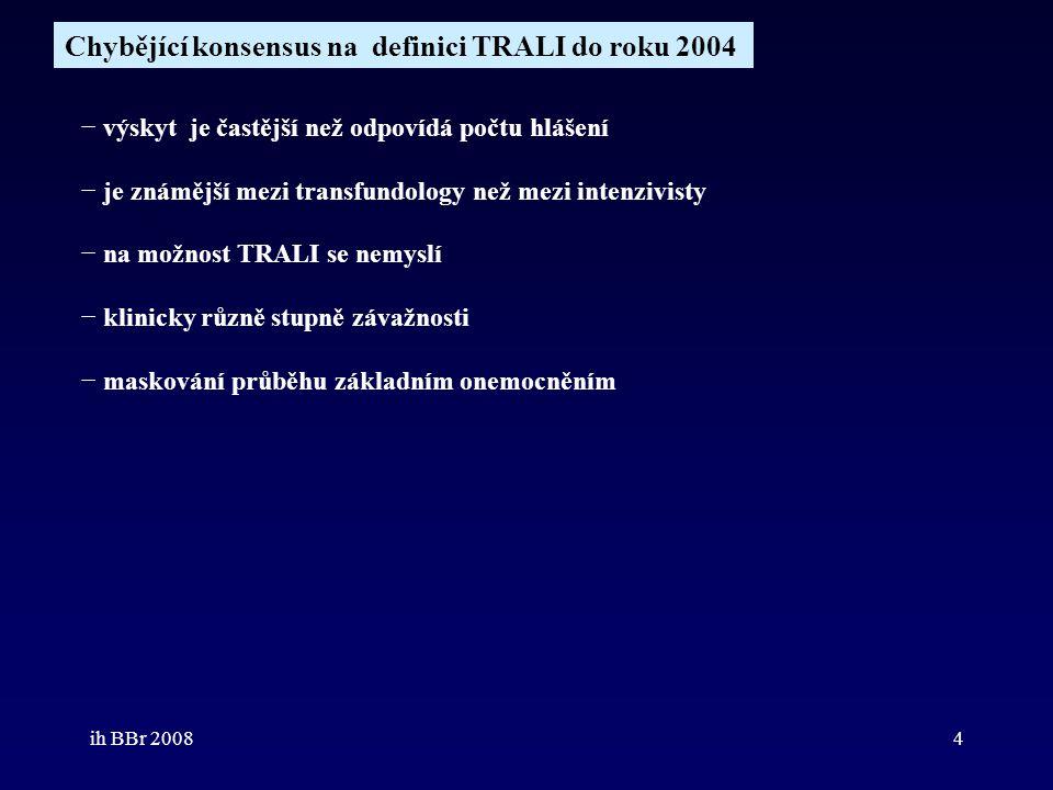 ih BBr 20084 Chybějící konsensus na definici TRALI do roku 2004 − výskyt je častější než odpovídá počtu hlášení − je známější mezi transfundology než