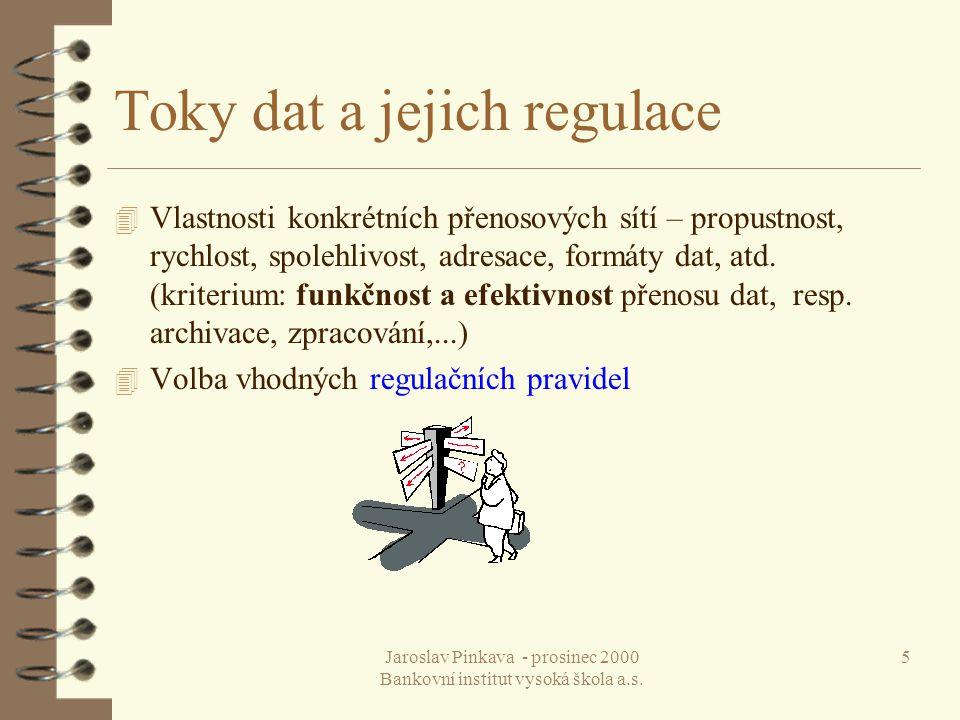 Jaroslav Pinkava - prosinec 2000 Bankovní institut vysoká škola a.s. 46 Dotazy, upřesnění ?