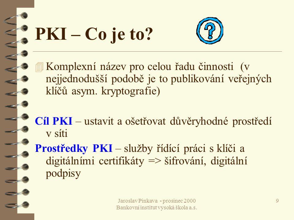 Jaroslav Pinkava - prosinec 2000 Bankovní institut vysoká škola a.s. 20