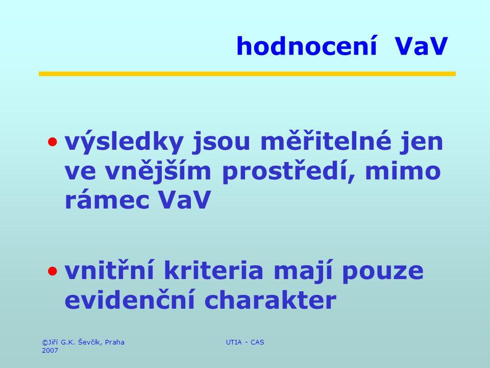 ©Jiří G.K. Ševčík, Praha 2007 UTIA - CAS hodnocení VaV výsledky jsou měřitelné jen ve vnějším prostředí, mimo rámec VaV vnitřní kriteria mají pouze ev