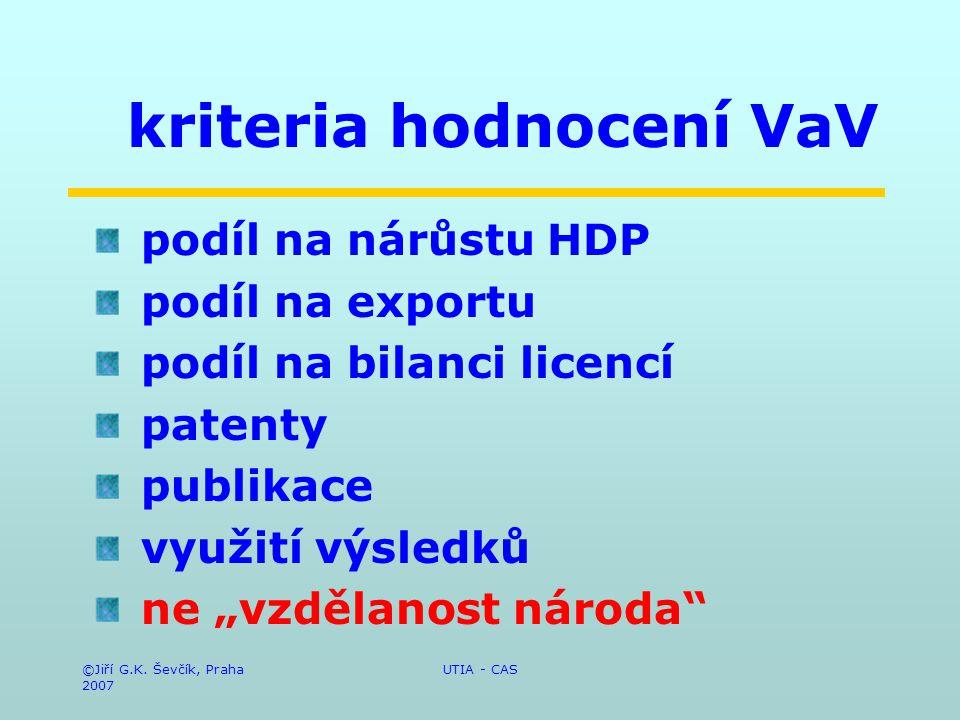 ©Jiří G.K. Ševčík, Praha 2007 UTIA - CAS kriteria hodnocení VaV podíl na nárůstu HDP podíl na exportu podíl na bilanci licencí patenty publikace využi