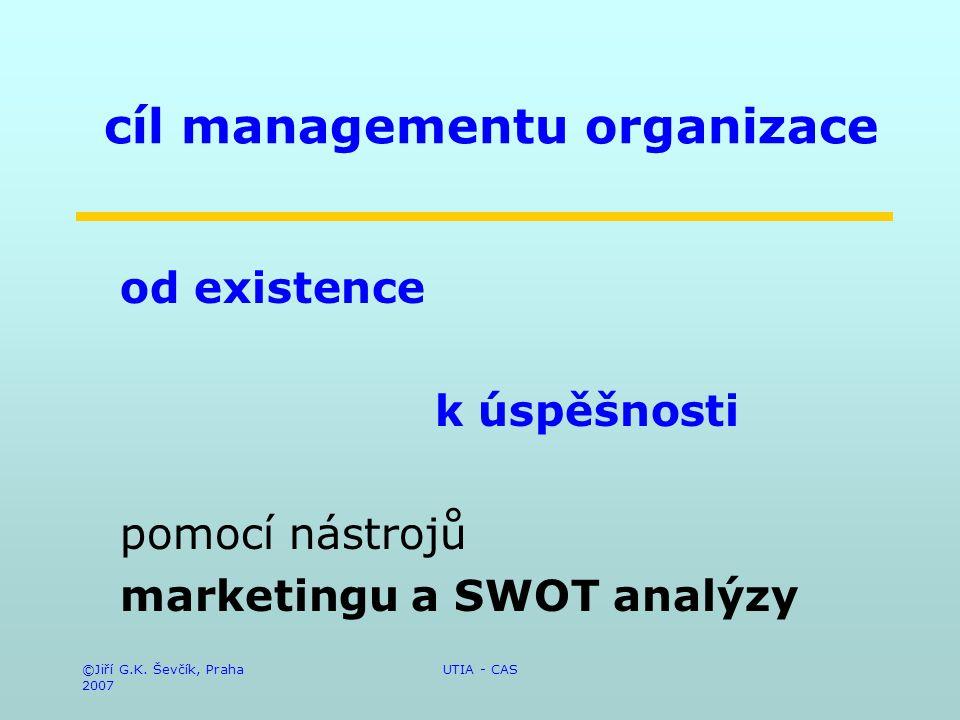©Jiří G.K. Ševčík, Praha 2007 UTIA - CAS cíl managementu organizace od existence k úspěšnosti pomocí nástrojů marketingu a SWOT analýzy