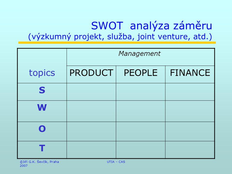 ©Jiří G.K. Ševčík, Praha 2007 UTIA - CAS SWOT analýza záměru (výzkumný projekt, služba, joint venture, atd.) Management topicsPRODUCTPEOPLEFINANCE S W