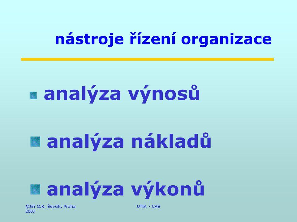 ©Jiří G.K. Ševčík, Praha 2007 UTIA - CAS nástroje řízení organizace analýza výnosů analýza nákladů analýza výkonů