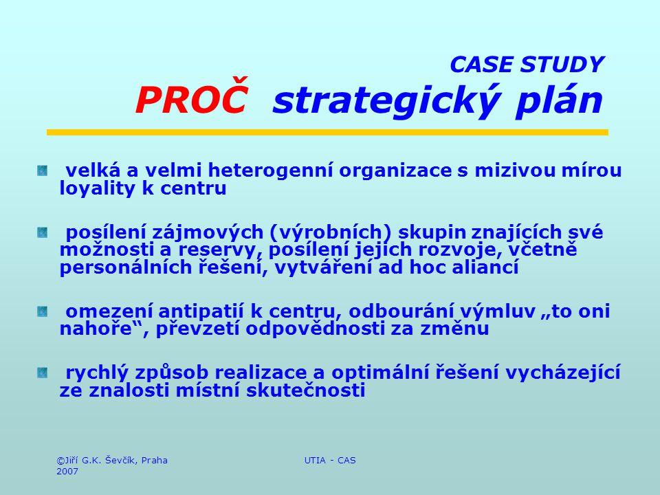 ©Jiří G.K. Ševčík, Praha 2007 UTIA - CAS CASE STUDY PROČ strategický plán velká a velmi heterogenní organizace s mizivou mírou loyality k centru posíl