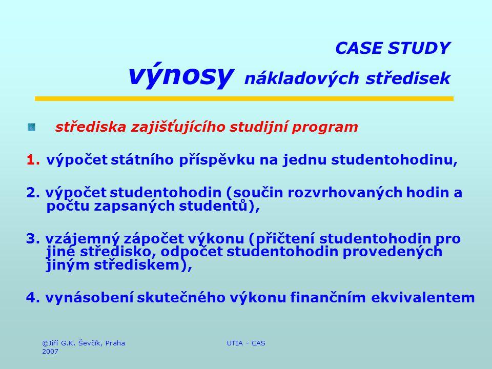 ©Jiří G.K. Ševčík, Praha 2007 UTIA - CAS CASE STUDY výnosy nákladových středisek střediska zajišťujícího studijní program 1.výpočet státního příspěvku