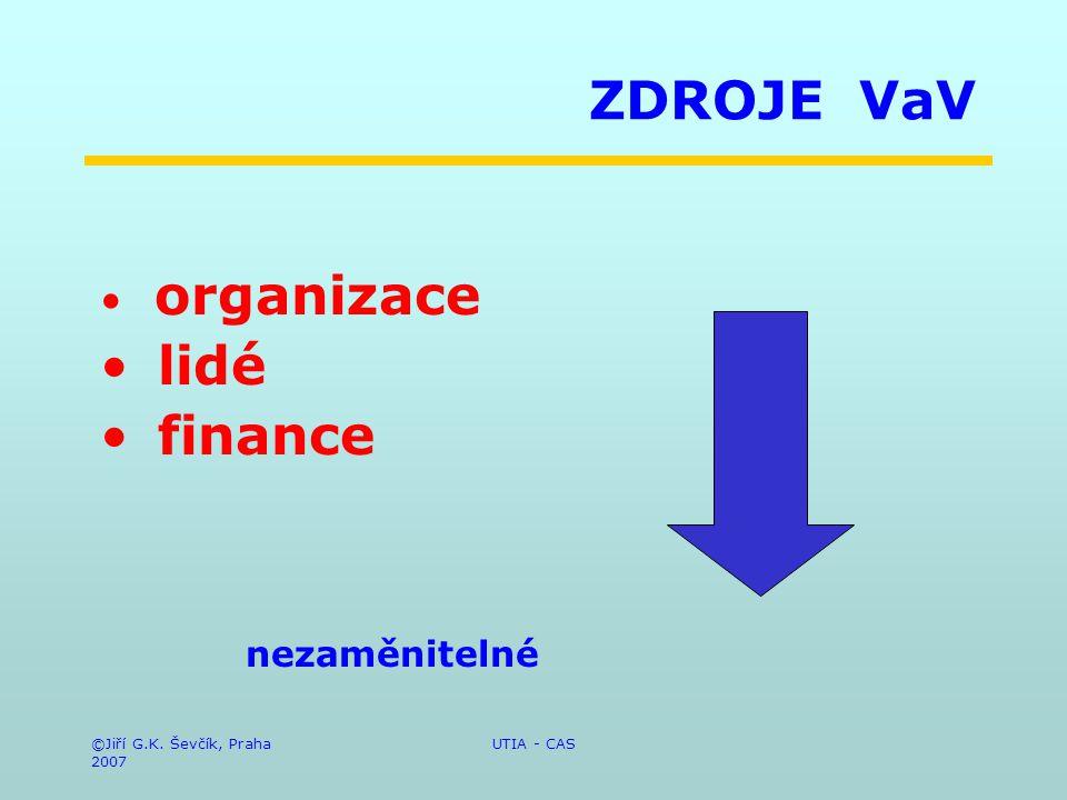 ©Jiří G.K. Ševčík, Praha 2007 UTIA - CAS ZDROJE VaV organizace lidé finance nezaměnitelné
