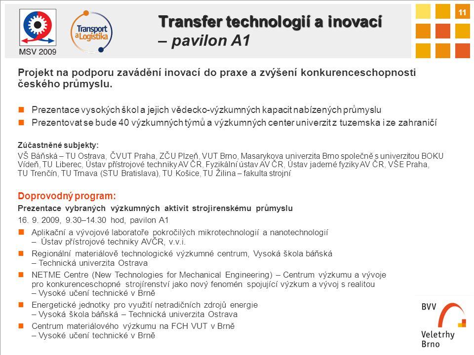 11 Transfer technologií a inovací Transfer technologií a inovací – pavilon A1 Projekt na podporu zavádění inovací do praxe a zvýšení konkurenceschopnosti českého průmyslu.