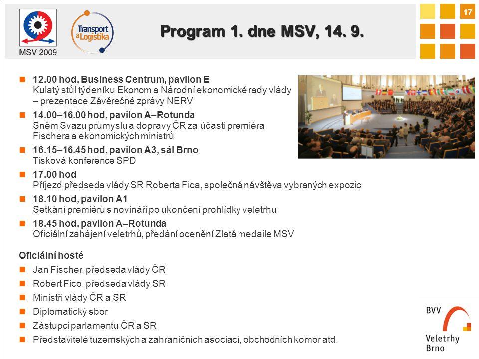 17 Program 1. dne MSV, 14. 9.