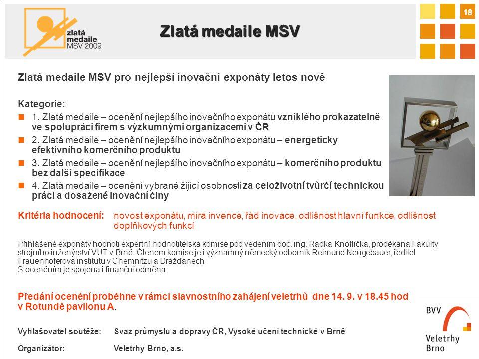 18 Zlatá medaile MSV pro nejlepší inovační exponáty letos nově Kategorie: 1.