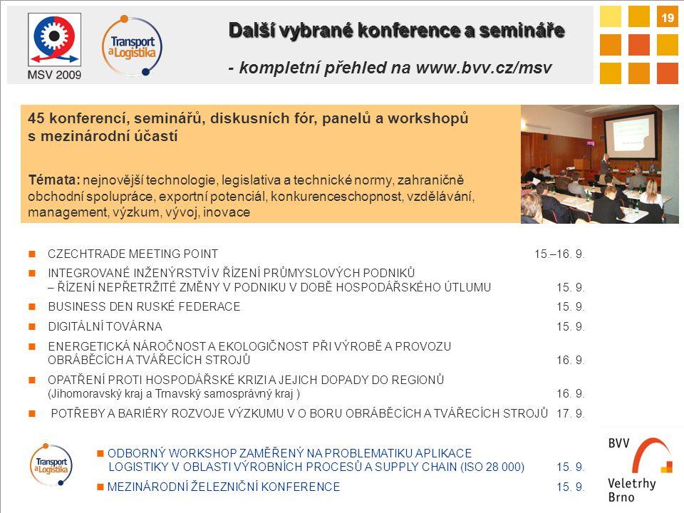 19 Další vybrané konference a semináře Další vybrané konference a semináře - kompletní přehled na www.bvv.cz/msv CZECHTRADE MEETING POINT15.–16.