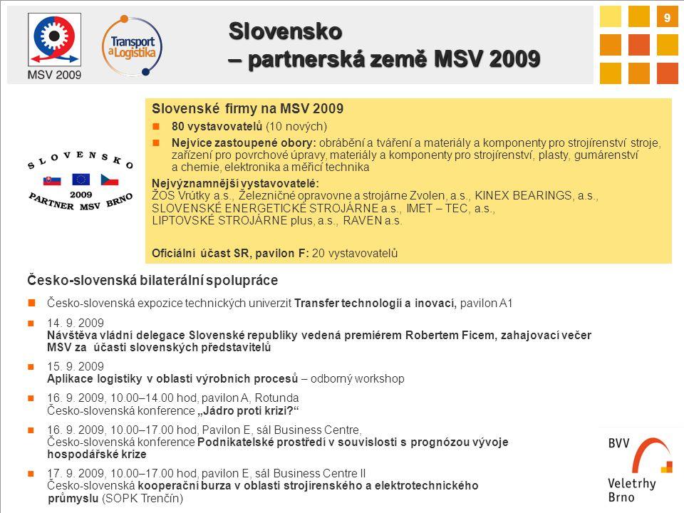 9 Slovensko – partnerská země MSV 2009 Česko-slovenská bilaterální spolupráce Česko-slovenská expozice technických univerzit Transfer technologií a inovací, pavilon A1 14.