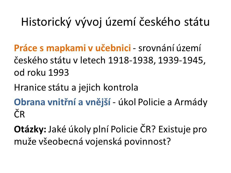 Historický vývoj území českého státu Práce s mapkami v učebnici - srovnání území českého státu v letech 1918-1938, 1939-1945, od roku 1993 Hranice stá