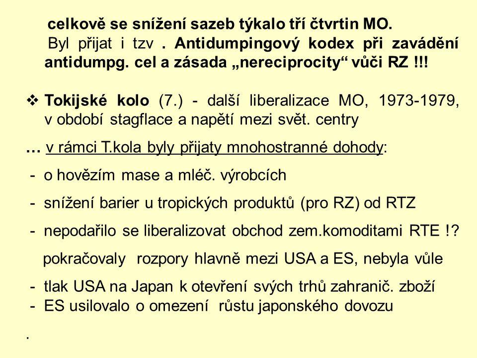 """Následující kola:  1. kolo = 1947 - 1948 v Ženevě – vzik GATT … výsledkem """"1.kola"""" bylo více než 120 dohod. Úspěšnost byla dosažena díky USA – zastán"""