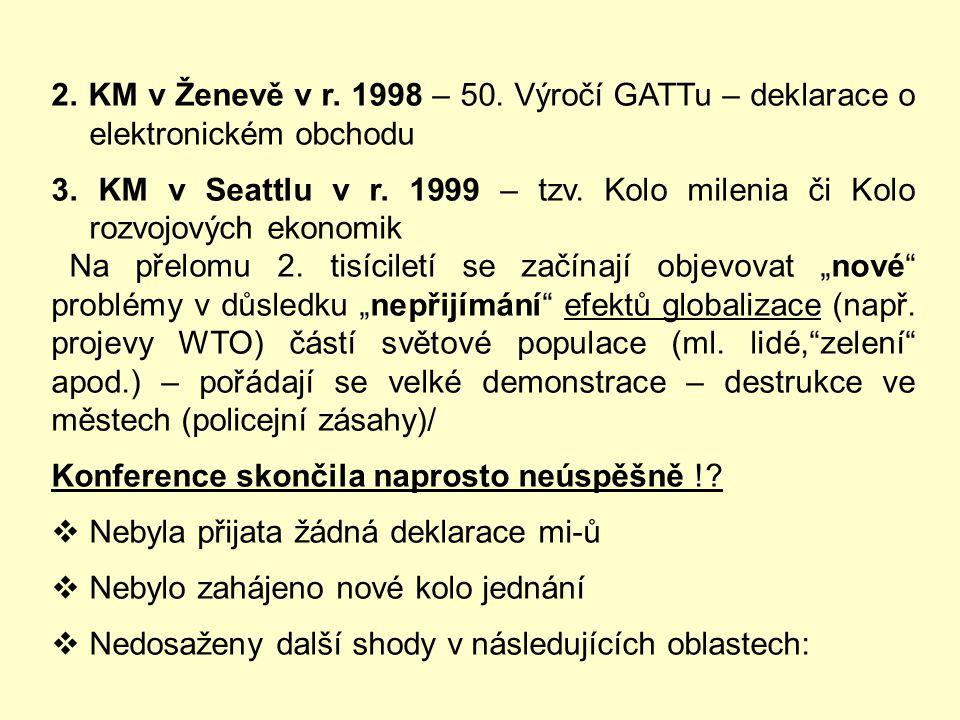 Jednání o liberalizaci MO probíhají na úrovni nejvyššího orgánu WTO, která se nazývá:  KONFERENCE MINISTRŮ (KM) a jedná každé dva roky (identická s k
