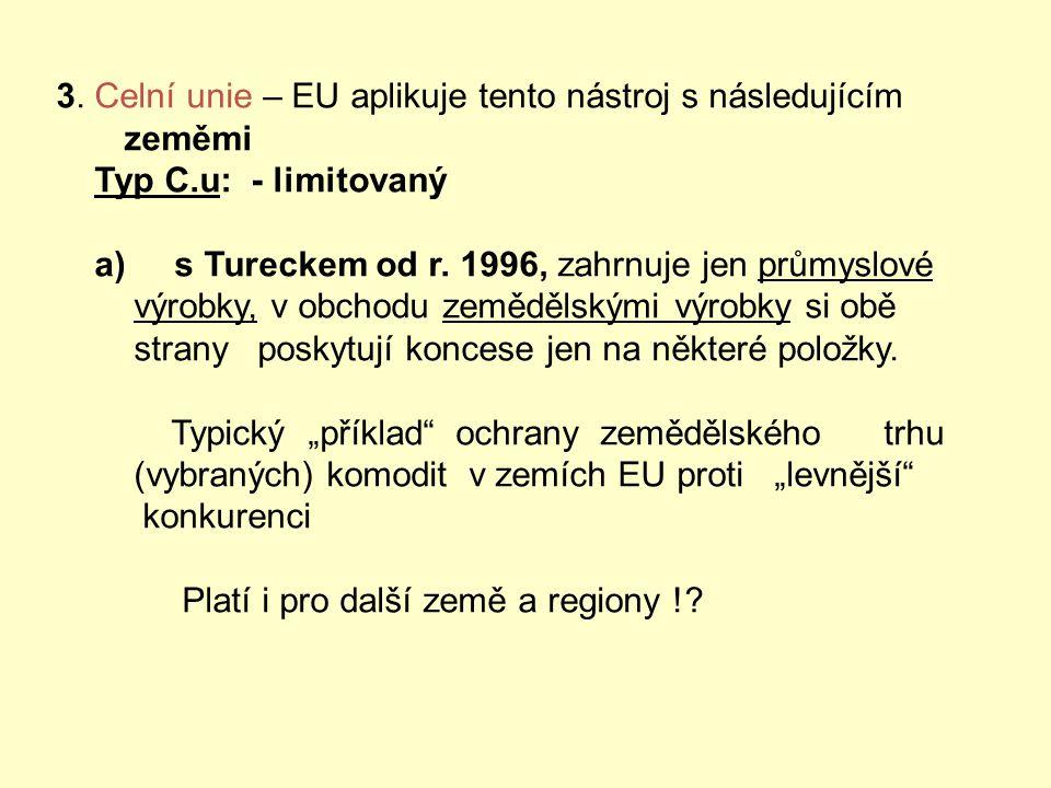 Tabulka dalších sml. obch.pol. nástrojů Typy smuvních nástrojů : 1.JVT – jednotný vnitřní trh = celní unie pro členy EU 2.EHP – společný prostor pro e