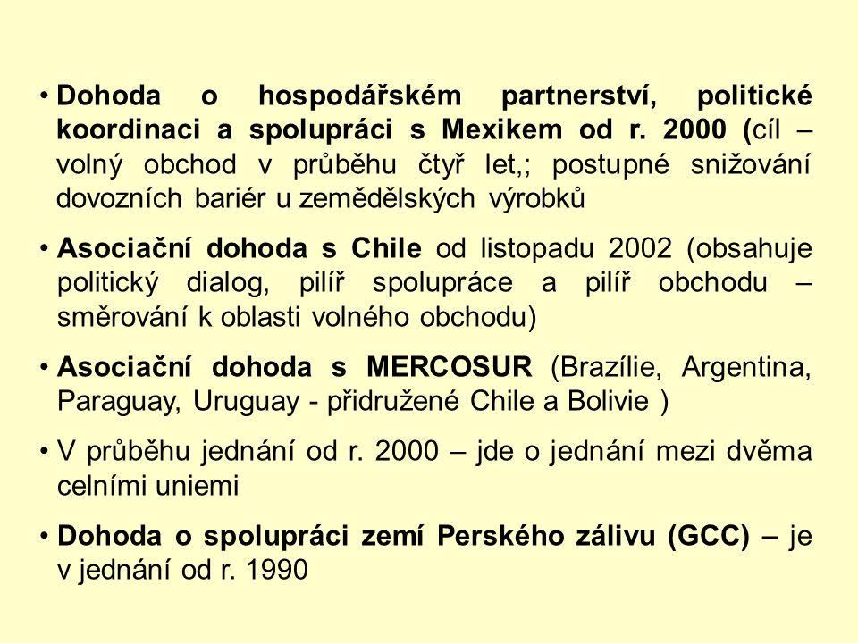 Přehled nepreferenčních dohod EU s jednotlivými zeměmi: 6) Stabilizační a asociační dohoda (SAA) s Makedonií a Chorvatskem podepsána 9. dubna 2001, je