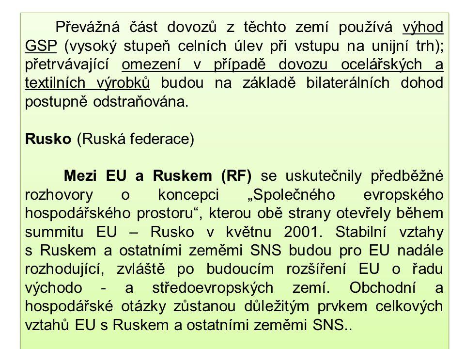 """S Běloruskem """"PCA"""" byla sjednána, ale z vnitropolitických důvodů nebyla uzavřena S Turkmenistánem je sjednána, ale zatím nevstoupila v platnost a Tádž"""