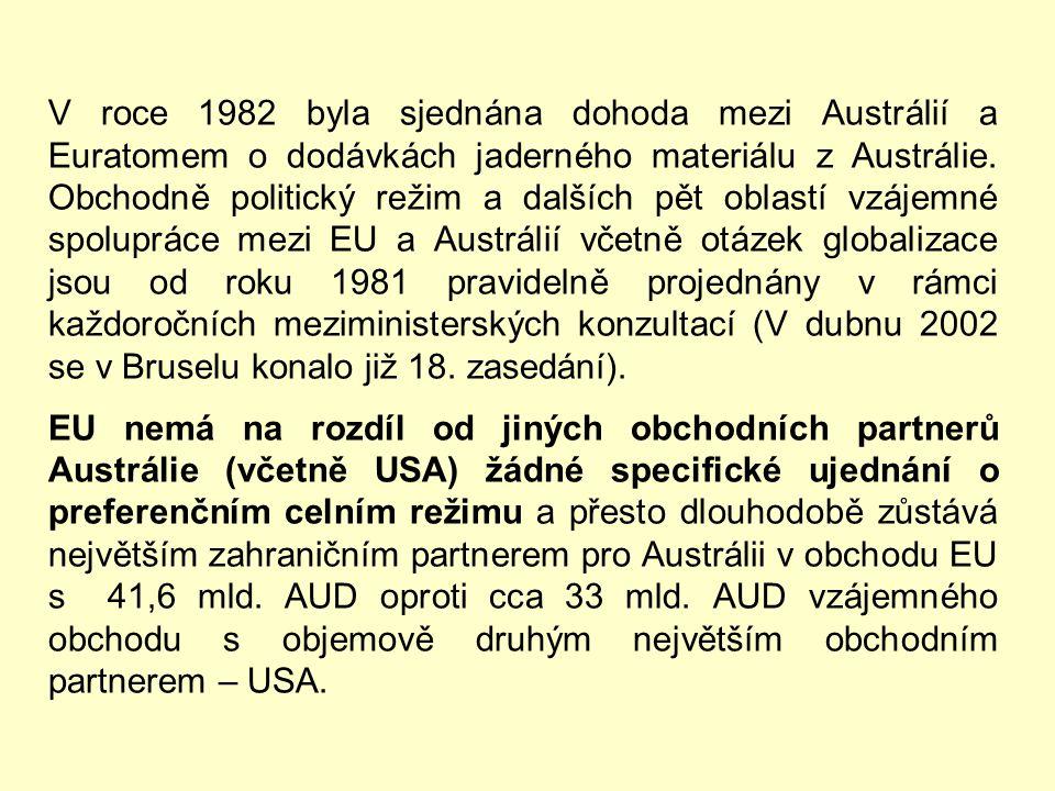 V roce 1993 ES a Austrálie sjednaly dohodu o uhlí. Po dlouhém vyjednávání o rámcové dohodě o obchodu a hospodářské spolupráci byla nakonec v roce 1997