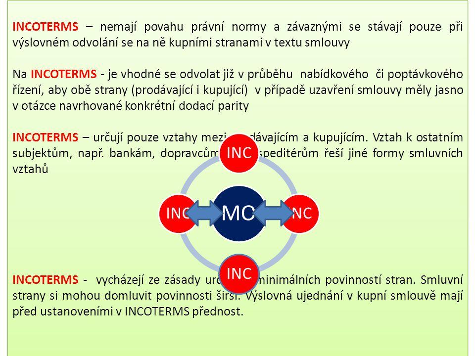 4.4.3 Mezinárodní výkladová pravidla – Doložky INCOTERMS 1990 a 2000 a 2010 … v praxi MO má tento soubor výkladových pravidel vydaných Mezinárodní kom