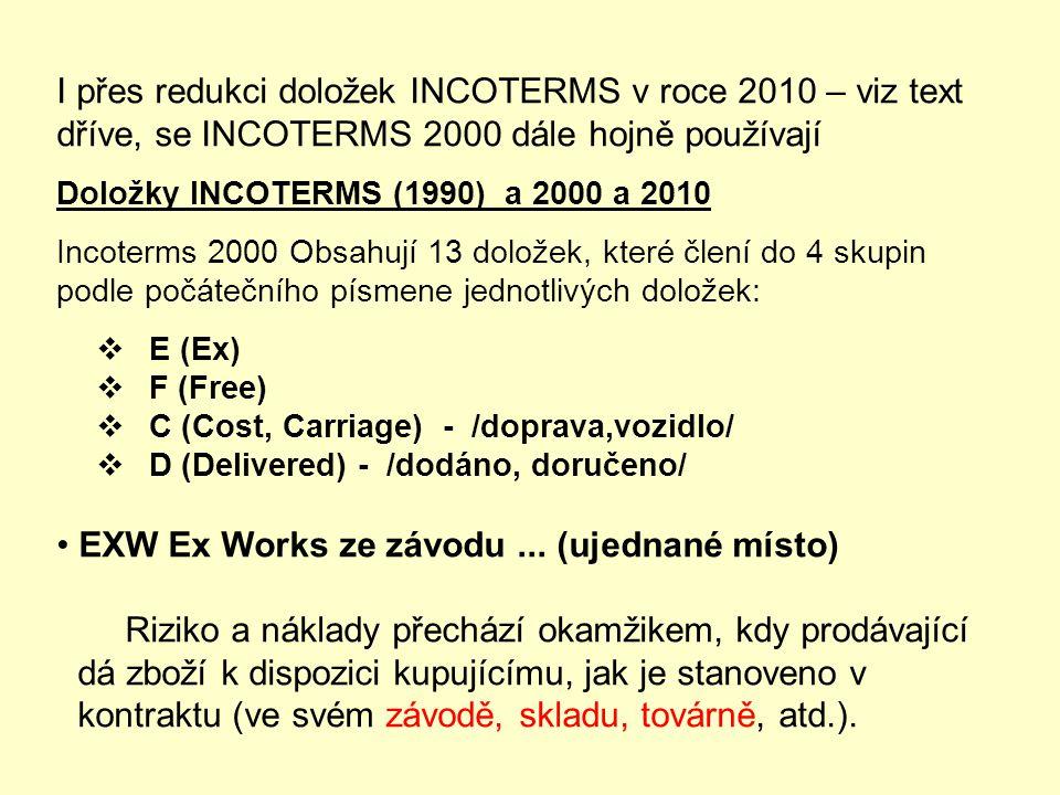 INCOTERMS 2010 – REDUKCE DOLOŽEK NA 11, PLATNÉ OD 1.1.2011
