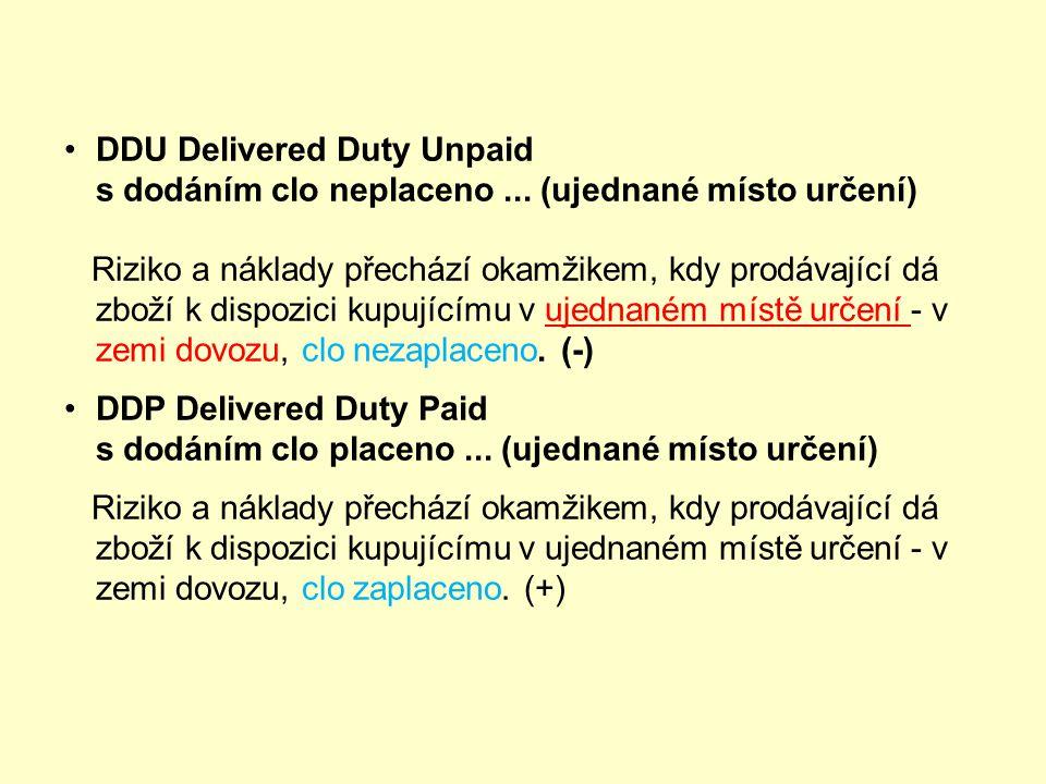 DEQ Delivered ex Quay s dodáním z nábřeží... (clo placeno)... (ujednaný přístav určení) Riziko a náklady přechází okamžikem, kdy prodávající dá zboží