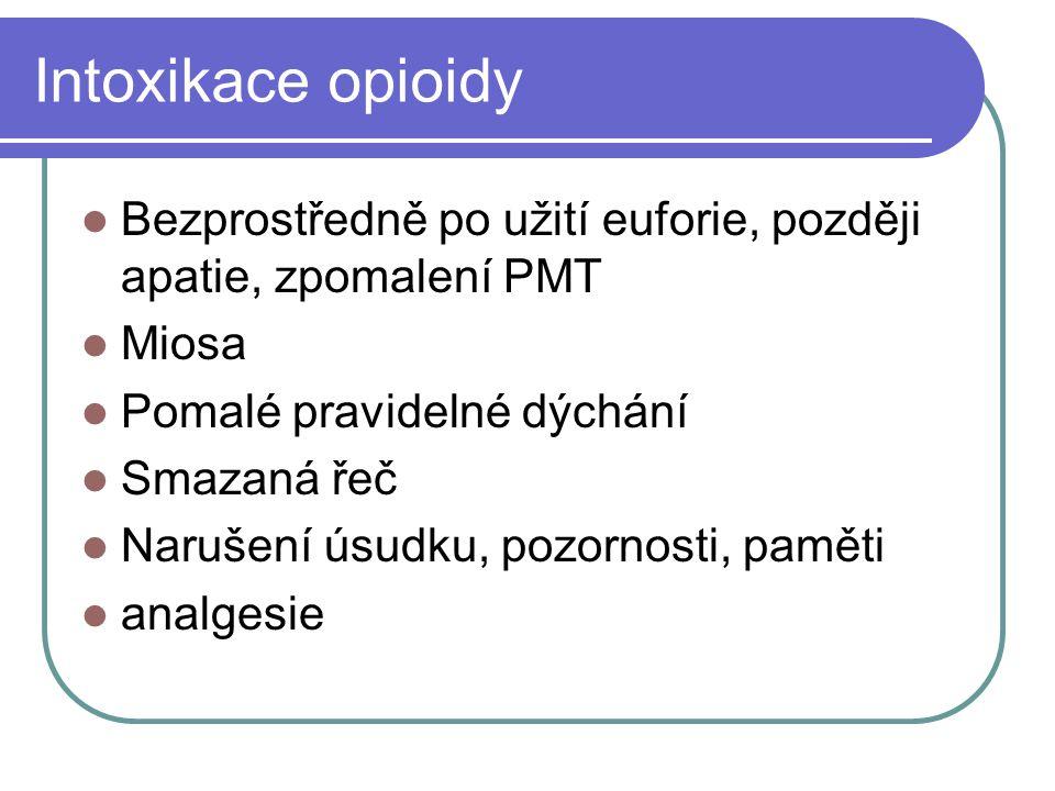 Intoxikace opioidy Bezprostředně po užití euforie, později apatie, zpomalení PMT Miosa Pomalé pravidelné dýchání Smazaná řeč Narušení úsudku, pozornos