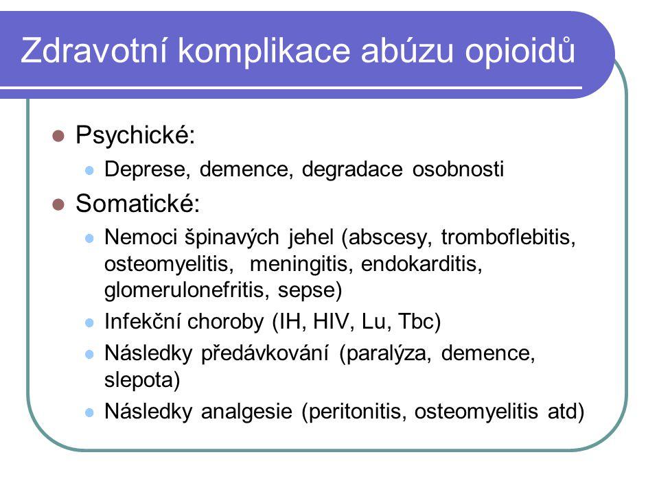 Zdravotní komplikace abúzu opioidů Psychické: Deprese, demence, degradace osobnosti Somatické: Nemoci špinavých jehel (abscesy, tromboflebitis, osteom