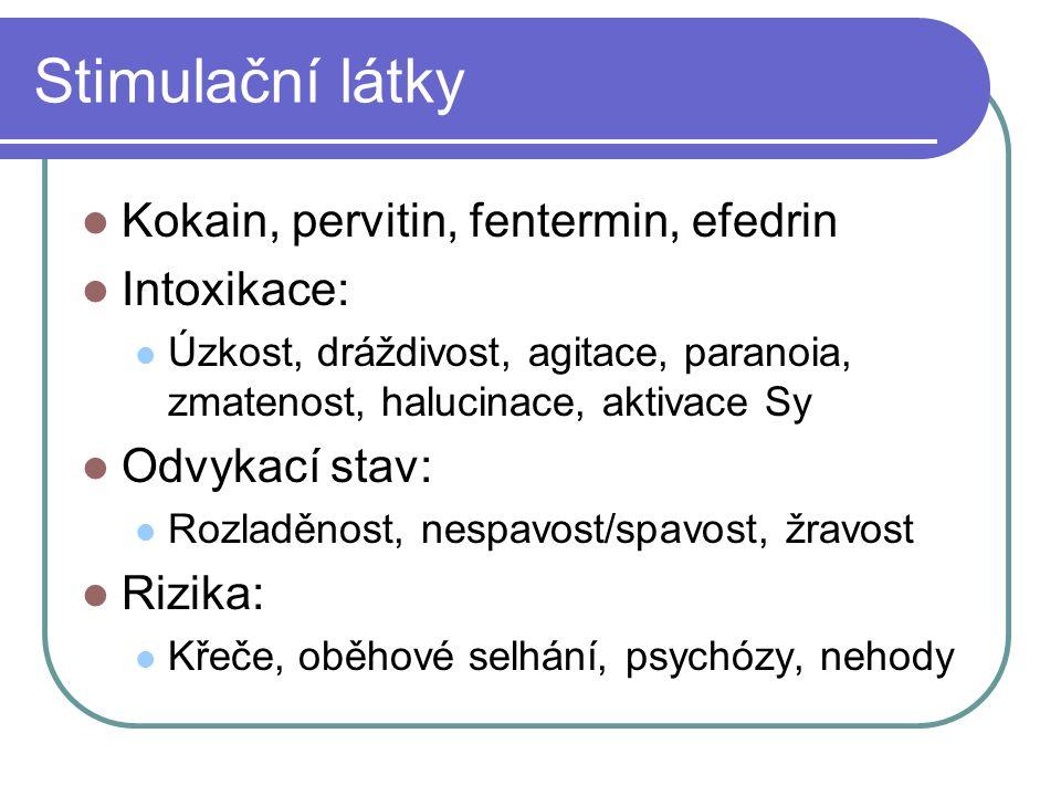Stimulační látky Kokain, pervitin, fentermin, efedrin Intoxikace: Úzkost, dráždivost, agitace, paranoia, zmatenost, halucinace, aktivace Sy Odvykací s
