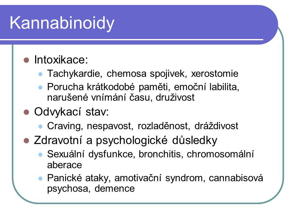 Kannabinoidy Intoxikace: Tachykardie, chemosa spojivek, xerostomie Porucha krátkodobé paměti, emoční labilita, narušené vnímání času, druživost Odvyka