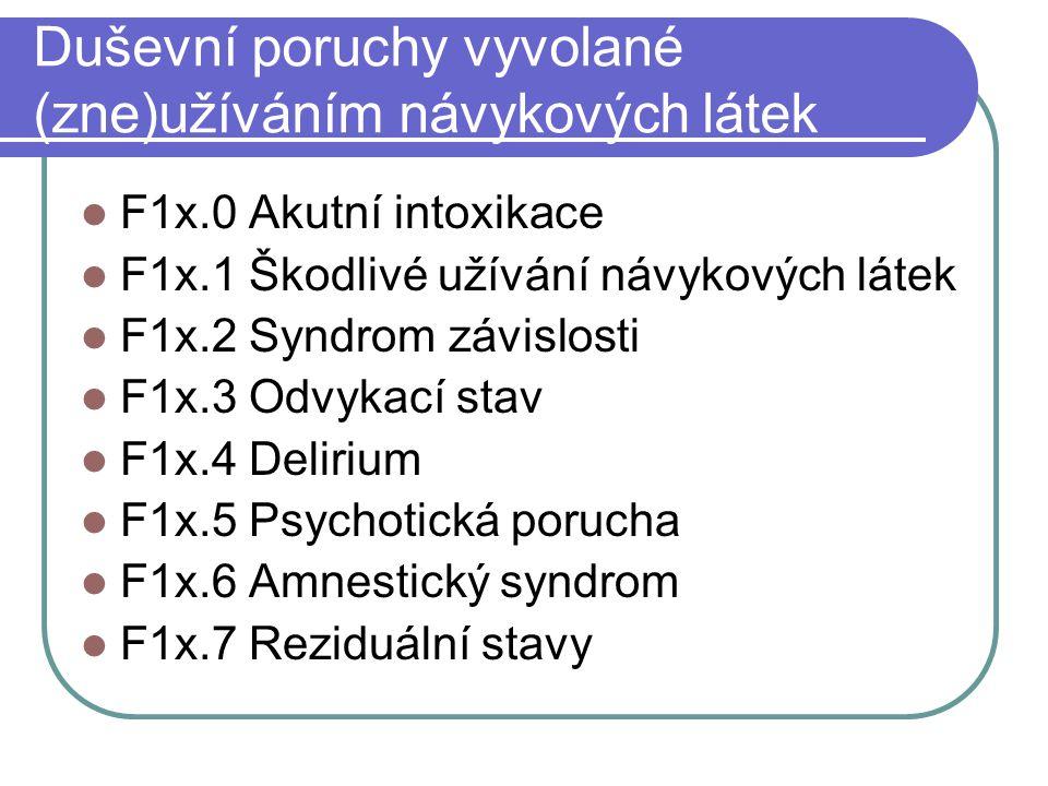 Duševní poruchy vyvolané (zne)užíváním návykových látek F1x.0 Akutní intoxikace F1x.1 Škodlivé užívání návykových látek F1x.2 Syndrom závislosti F1x.3