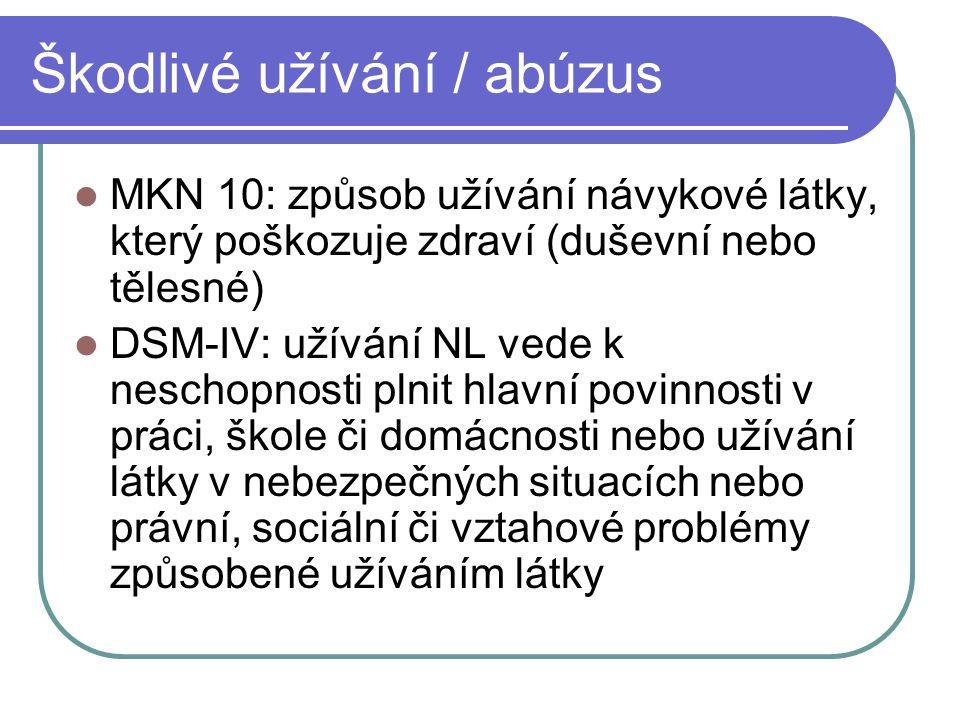 Škodlivé užívání / abúzus MKN 10: způsob užívání návykové látky, který poškozuje zdraví (duševní nebo tělesné) DSM-IV: užívání NL vede k neschopnosti