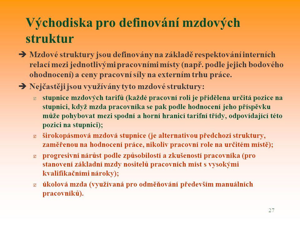 27 Východiska pro definování mzdových struktur èMzdové struktury jsou definovány na základě respektování interních relací mezi jednotlivými pracovními